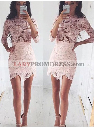 2021 Sheath/Column Jewel Neck Long Sleeve Lace Cut Short/Mini Homecoming Dresses