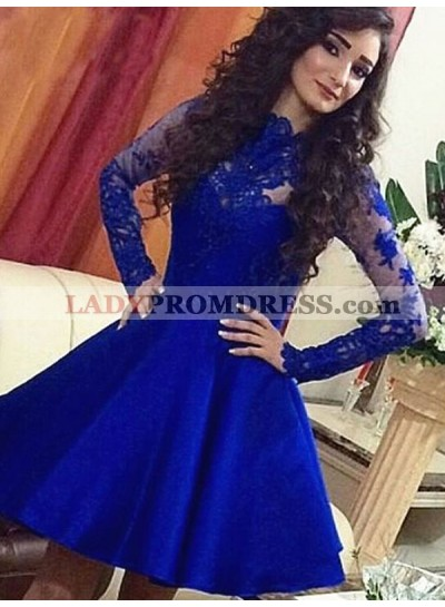 2021 A-Line/Princess Jewel Neck Long Sleeve Applique Beading Short/Mini Homecoming Dresses