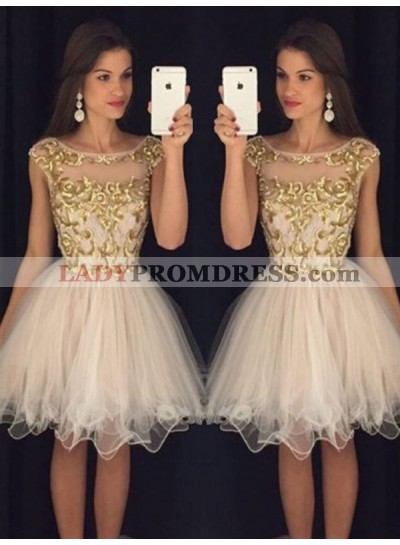 2021 A-Line/Princess Ball Gown Scoop Neck Long Sleeve Applique Organza Cut Short/Mini Homecoming Dresses