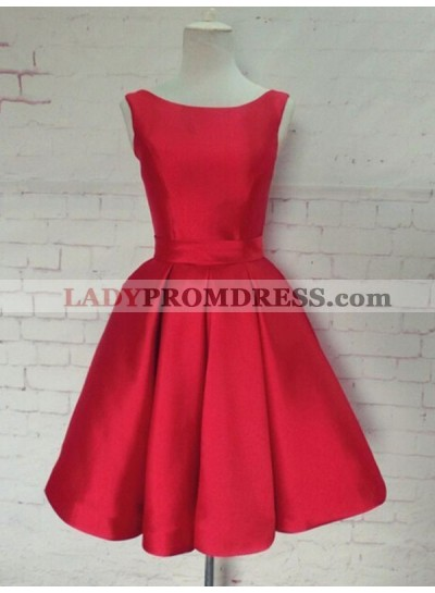 2021 A-Line/Princess Scoop Neck Sleeveless Ruched Bowknot Back Cut Out Tea-Length Satin Homecoming Dresses