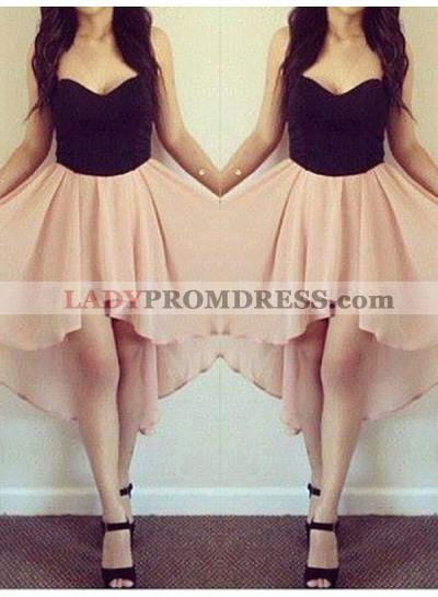 2021 Sweetheart Strapless Sleeveless High Low Chiffon Short/Mini Homecoming Dresses