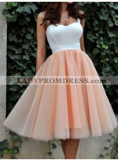 2021 A-Line/Princess Straps Sweetheart Sleeveless Tulle Tea-Length Homecoming Dresses