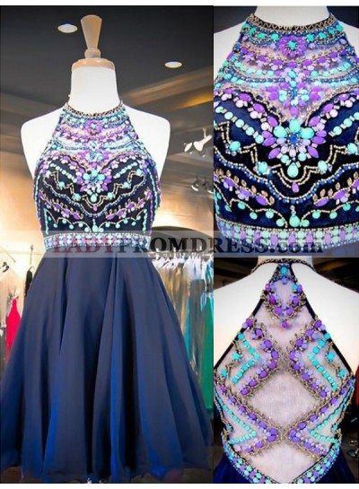 2021 A-Line/Princess Halter Sleeveless Rhinestone Beaded Chiffon Short/Mini Homecoming Dresses