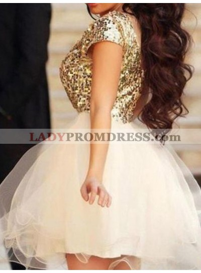 2021 Ball Gown Scoop Neck Short Sleeve Sequin Organza Cut Short/Mini Homecoming Dresses