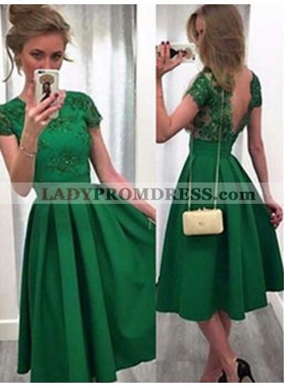 2021 A-Line/Princess Scoop Neck Short Sleeve V Back Lace Satin Tea-Length Homecoming Dresses