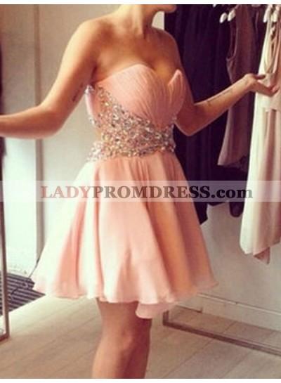 2021 A-Line/Princess Sweetheart Sleeveless Beading Chiffon Cut Short/Mini Homecoming Dresses
