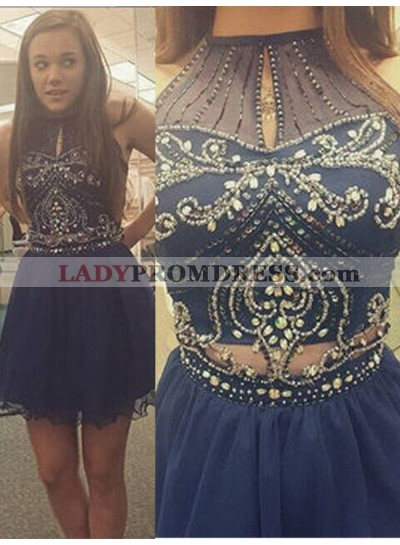 2021 A-Line/Princess Halter Sleeveless Beading Cut Out Cut Short/Mini Homecoming Dresses