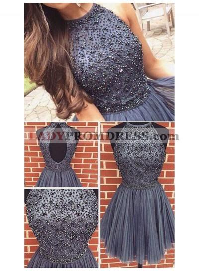 2021 A-Line/Princess Halter Sleeveless Beaded Pleated Cut Out Cut Short/Mini Homecoming Dresses