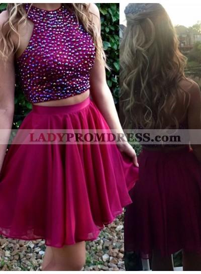 2021 A-Line/Princess Halter Sleeveless Beaded Chiffon Two Piece Cut Short/Mini Homecoming Dresses