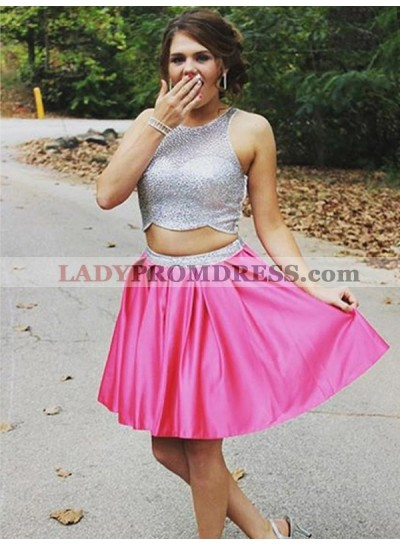 2021 A-Line/Princess Two Piece Scoop Neck Sleeveless Short/Mini Homecoming Dresses
