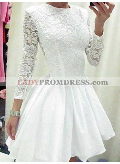 2021 A-Line/Princess Jewel Neck Long Sleeve Lace Cut Short/Mini Homecoming Dresses