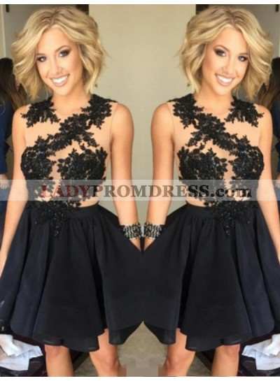 2021 A-Line/Princess Jewel Neck Sleeveless Applique Beaded Pleated Layers Cut Short/Mini Homecoming Dresses