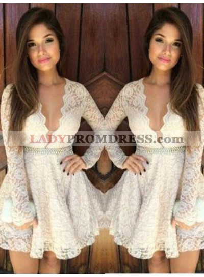 2021 A-Line/Princess V Neck Long Sleeve Beading Lace Cut Short/Mini Homecoming Dresses