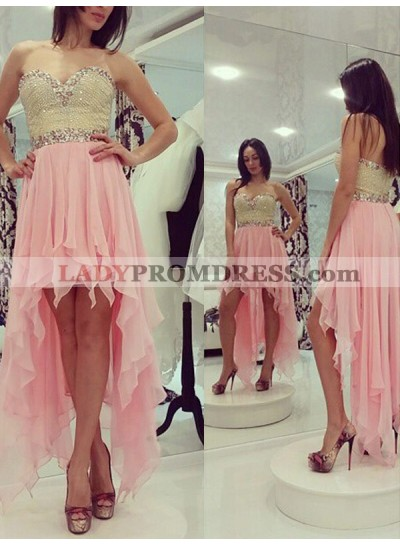 2021 A-Line/Princess Sweetheart Sleeveless Beading High Low Chiffon Homecoming Dresses