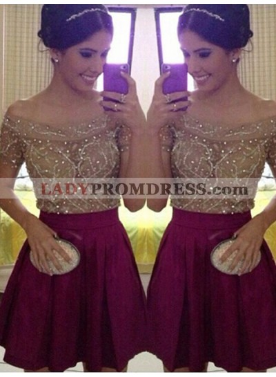 2021 A-Line/Princess Off-The-Shoulder Beading Pleated Cut Short/Mini Homecoming Dresses