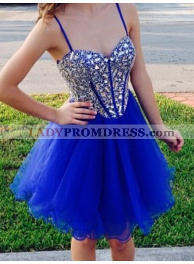 2021 A-Line/Princess Spaghetti Straps Sweetheart Sleeveless Beading Organza Cut Short/Mini Homecoming Dresses