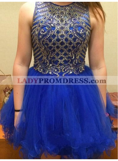 2021 Ball Gown Jewel Neck Sleeveless Beading Organza Cut Short/Mini Homecoming Dresses