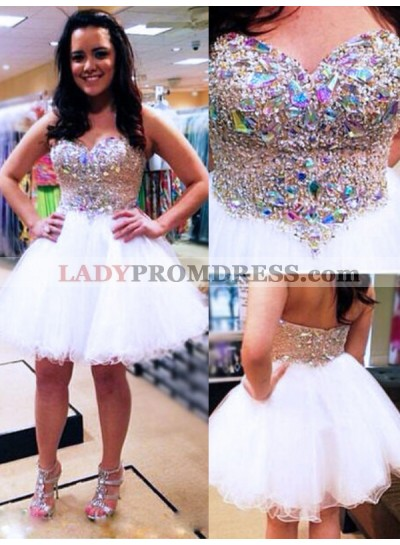 2021 Ball Gown Sweetheart Sleeveless Beading Organza Cut Short/Mini Homecoming Dresses