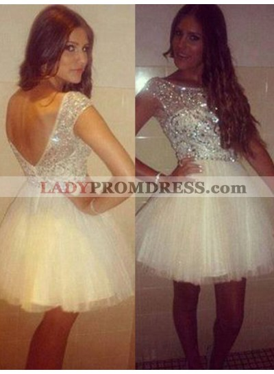 2021 Ball Gown Scoop Neck Cap Sleeve V Back Beading Tulle Cut Short/Mini Homecoming Dresses