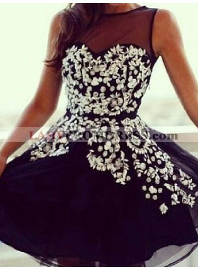 2021 A-Line/Princess Jewel Neck Sleeveless Sweetheart Applique Organza Cut Short/Mini Homecoming Dresses