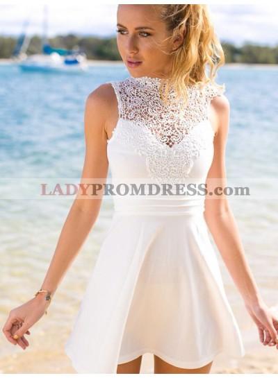 2021 A-Line/Princess High Neck Sleeveless Ruched Cut Short/Mini Homecoming Dresses