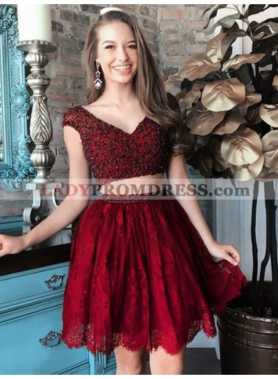 2021 A-Line/Princess V Neck Cap Sleeve Two Piece Beading Lace Cut Short/Mini Homecoming Dresses