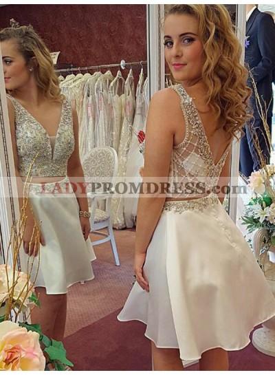 2021 A-Line/Princess V Neck V Back Sleeveless Beading Two Piece Cut Short/Mini Homecoming Dresses