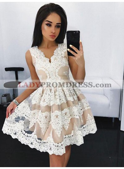2021 A-Line/Princess V Neck Sleeveless Applique Cut Short/Mini Homecoming Dresses