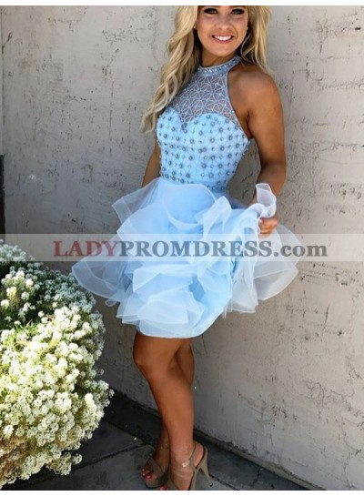 2021 Ball Gown Scoop Neck Sleeveless Beading Layers Organza Cut Short/Mini Homecoming Dresses