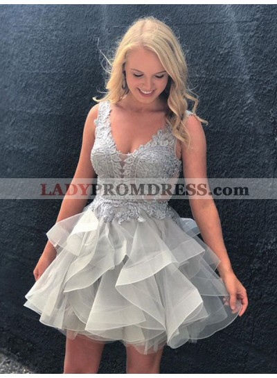 2021 Ball Gown V Neck Sleeveless Backless Applique Beading Layers Organza Cut Short/Mini Homecoming Dresses