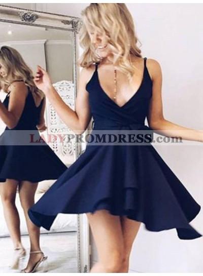 2021 A-Line/Princess V Neck V Back Sleeveless Bowknot Cut Short/Mini Homecoming Dresses