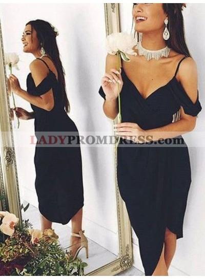 2021 Sheath/Column V Neck Straps Hihg Low Tea-Length Homecoming Dresses