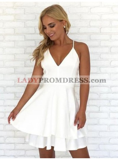2021 A-Line/Princess V Neck Sleeveless Layers Cut Short/Mini Homecoming Dresses