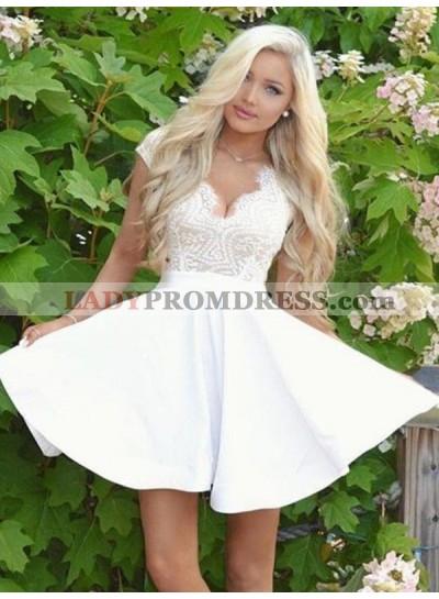 2021 A-Line/Princess V Neck Cap Sleeve Cut Out Back Lace Cut Short/Mini Homecoming Dresses
