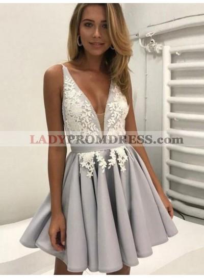 2021 A-Line/Princess V Neck Sleeveless Applique Pleated Backless Cut Short/Mini Homecoming Dresses