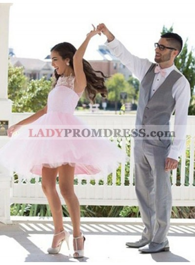 2021 Ball Gown Scoop Neck Sleeveless Applique Tulle Cut Short/Mini Homecoming Dresses