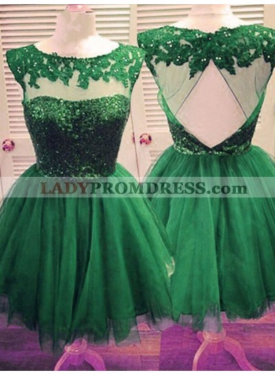 2021 Ball Gown Scoop Neck Sleeveless Cut Out Back Applique Beading Tulle Cut Short/Mini Homecoming Dresses