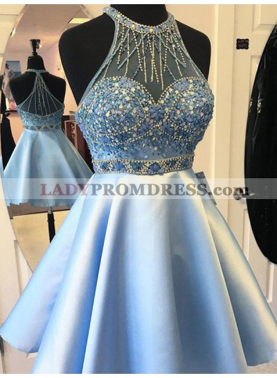 2021 A-Line/Princess Halter Sleeveless Beading Satin Cut Short/Mini Homecoming Dresses