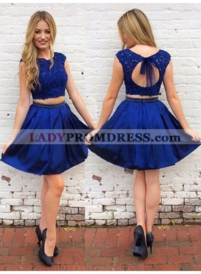 2021 A-Line/Princess Two Piece Scoop Neck Cap Sleeve Cut Out Back Beading Short/Mini Homecoming Dresses