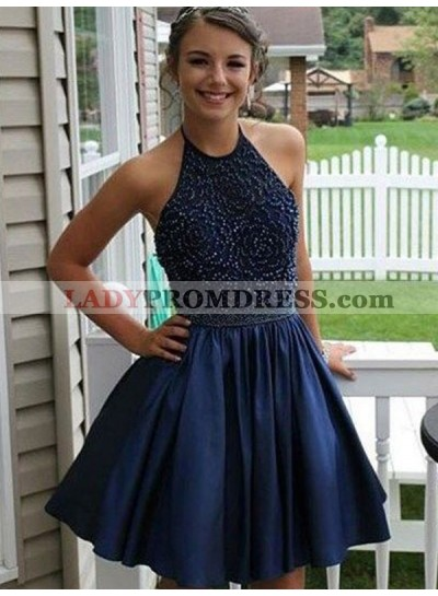 2021 A-Line/Princess Halter Beading Pleated Satin Cut Short/Mini Homecoming Dresses