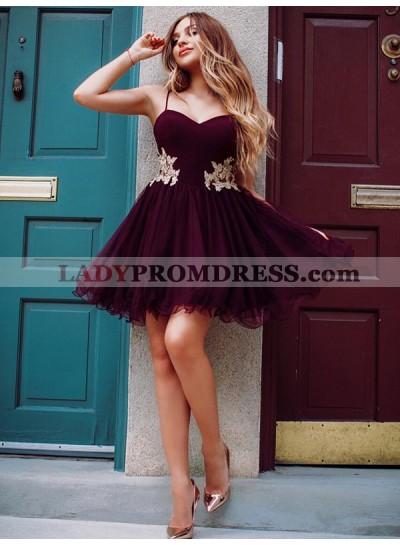 2021 A-Line/Princess Sweetheart Spaghetti Straps Applique Organza Cut Short/Mini Homecoming Dresses