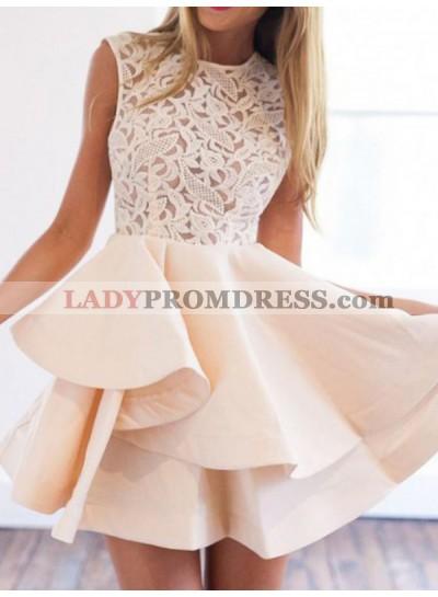 2021 A-Line/Princess Jewel Neck Sleeveless Layers Lace Cut Short/Mini Homecoming Dresses