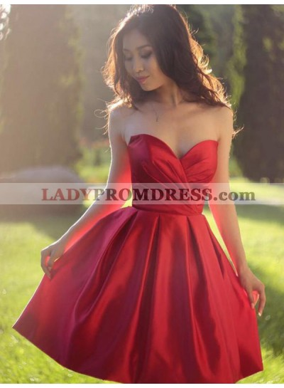 Oriental Style Red Sweetheart Sleeveless Pleated A-Line/Princess Short Mini Homecoming Dresses
