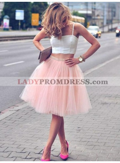 Two Piece Ball Gown Tulle Square Neck Straps Sleeveless Knee-Length Homecoming Dresses