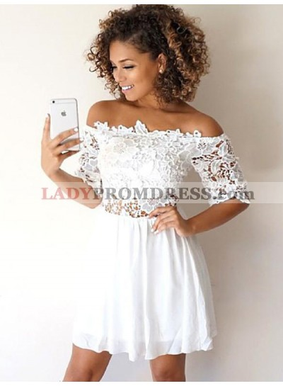 White Lace Off-The-Shoulder Half Sleeve Cut Shorts Mini Homecoming Dresses