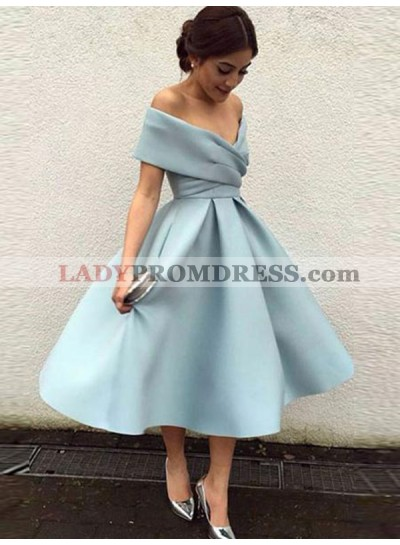 Elegant Tea-Length Off-The-Shoulder Pleated Satin Ball Gown Homecoming Dresses