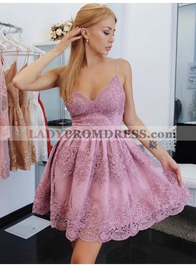 Cut Short Mini Spaghetti Straps Sleeveless Applique Beading Homecoming Dresses