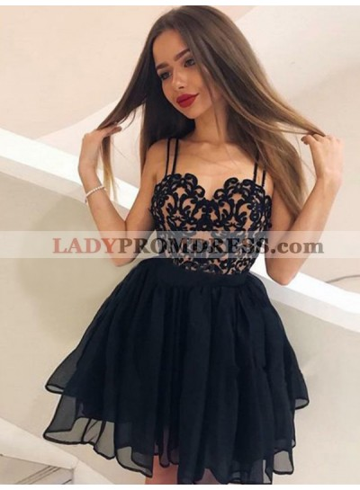 Black Ball Gown Chiffon Sleeveless Sweetheart Applique Cut Short Mini Homecoming Dresses