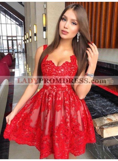 Red Ball Gown Lace Sleeveless Sweetheart Cut Short Mini Homecoming Dresses
