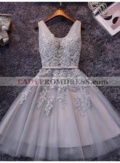 Tulle Sash/Ribbon/Belt Applique Beading V Neck Lace Up Sleeveless Homecoming Dresses